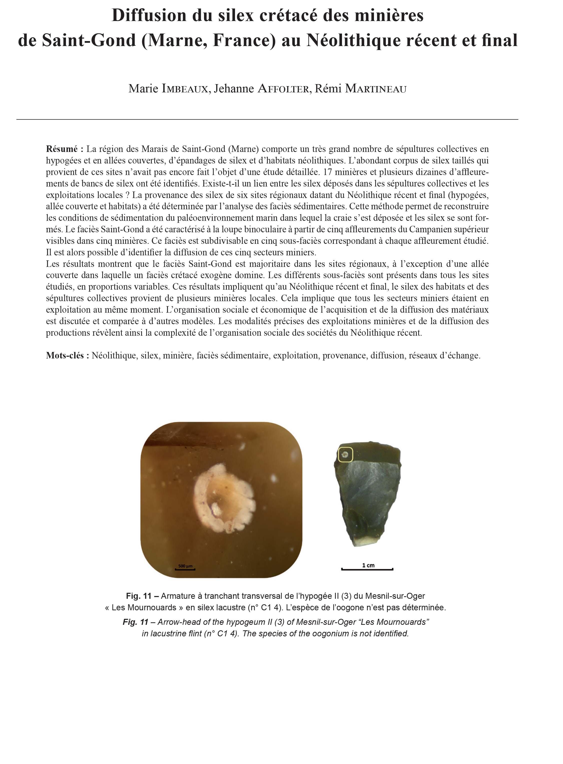 Pourquoi Pas De Volets En Irlande 21-2018, tome 115, 4, p. 733-767 - imbeaux m., affolter j., martineau r.  (2018) – diffusion du silex crétacé des minières de saint-gond (marne,